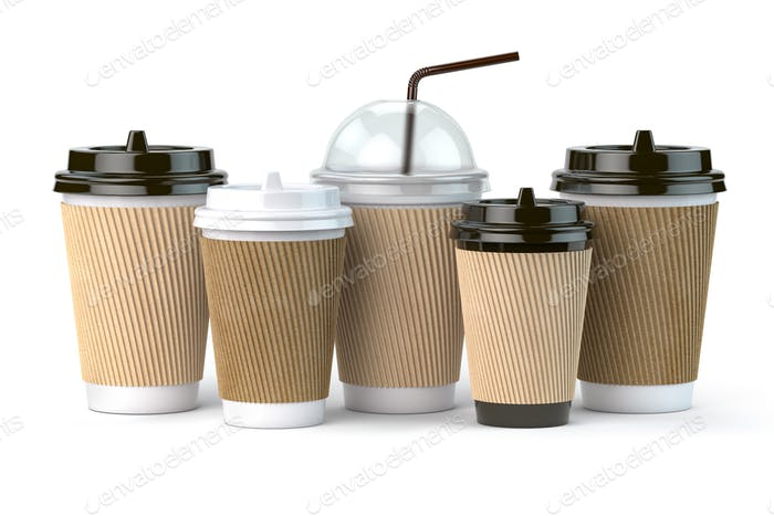 Set of coffee paper cups.Mockup template for cafe shop. Differnt
