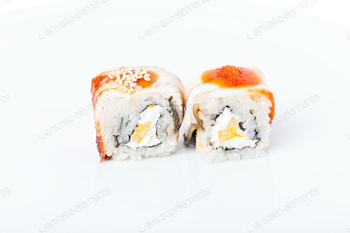 Traditional japanese sushi roll with smoked unagi.