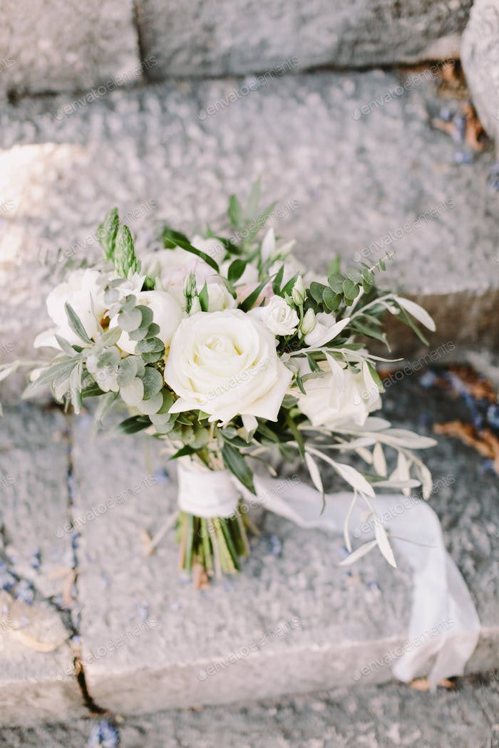 wedding bouquet with white roses for rustic wedding
