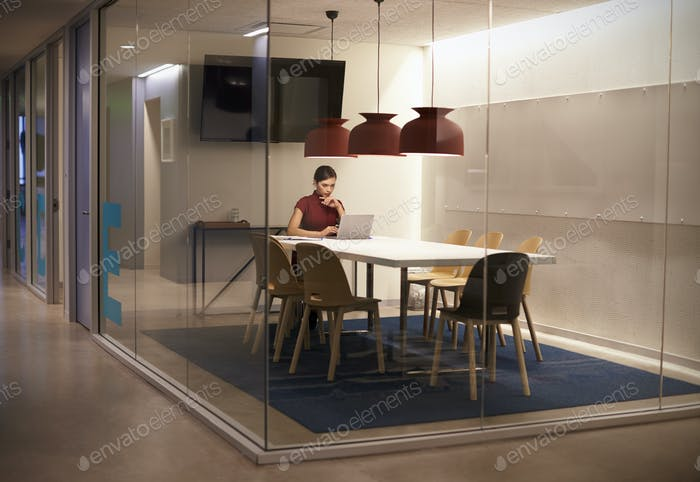 Businesswoman working alone in cubicle at corporate business