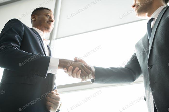 Content business partners concluding deal