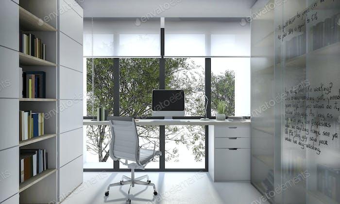 3D Rendering-Arbeitsraum mit Bücherregal und Tageslicht