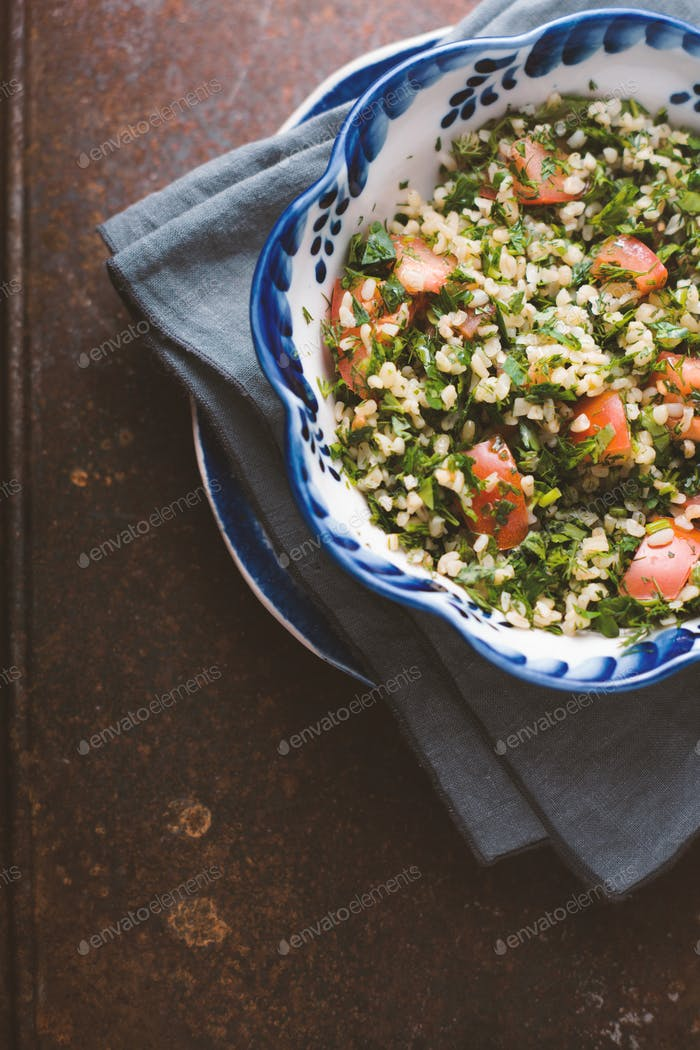 Vegetarian salad with bulgur, mint, tomato
