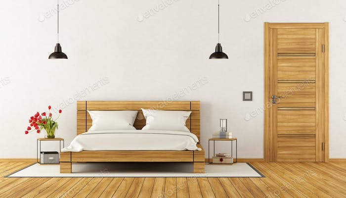 Modern Bedroom with wooden bed