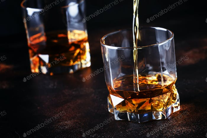 Whiskey Pour In Glass