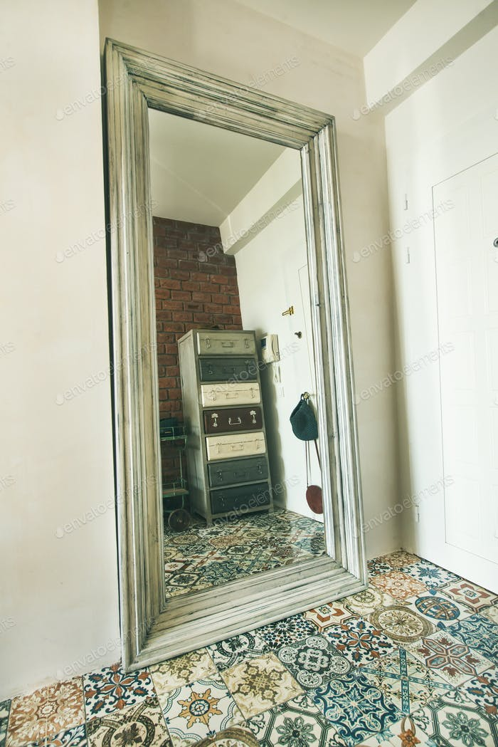 Contemprorary Mediterranean style apartment hallway interior