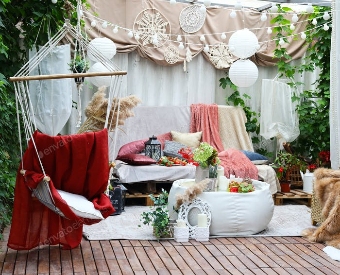 Gazebo Interior in Folk Style