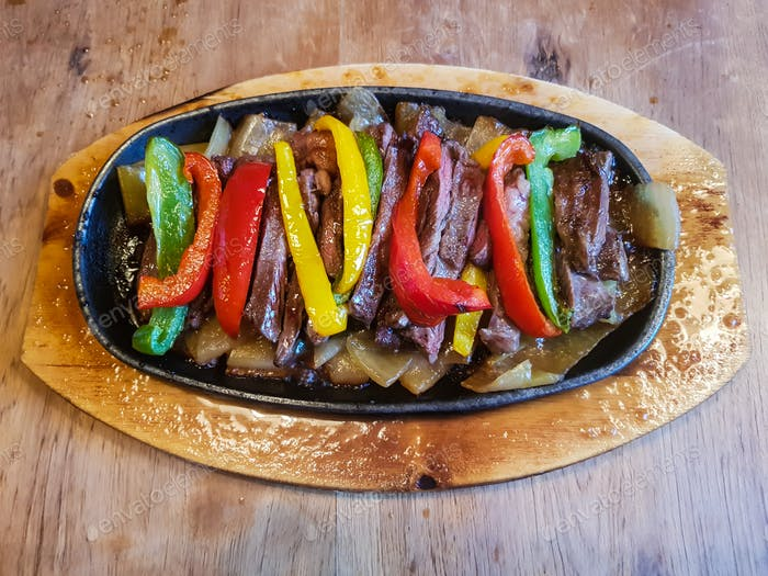 Traditional delicious Mexican beef fajitas freshly served