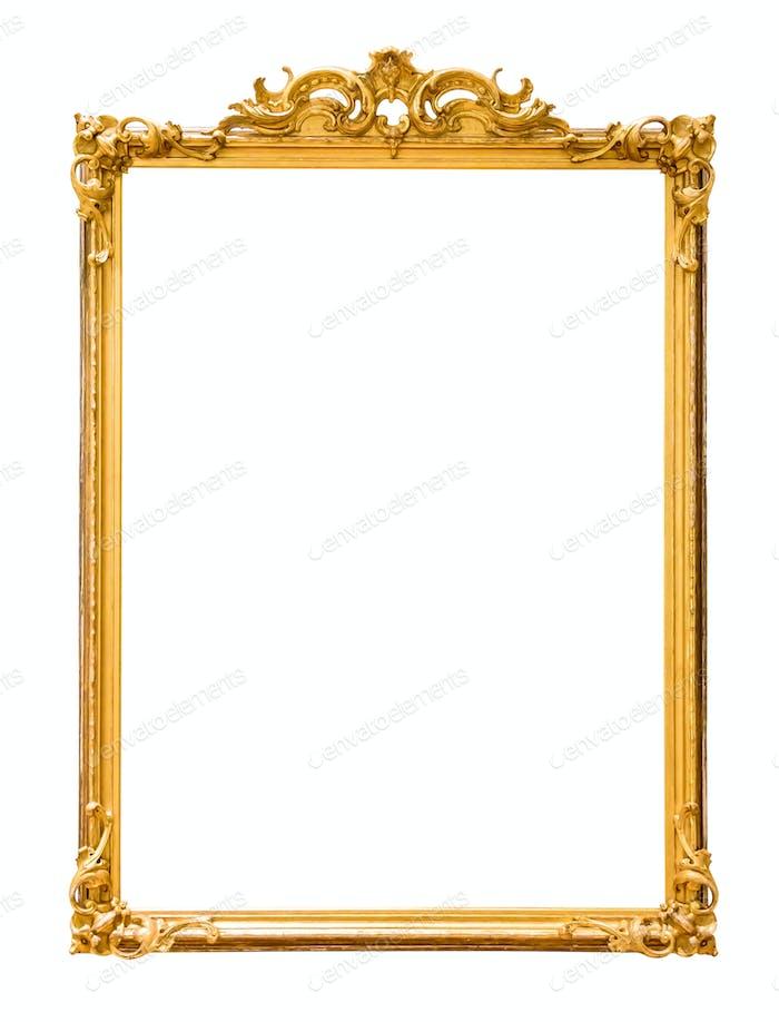Goldener dekorativer Bilderrahmen isoliert auf weiß