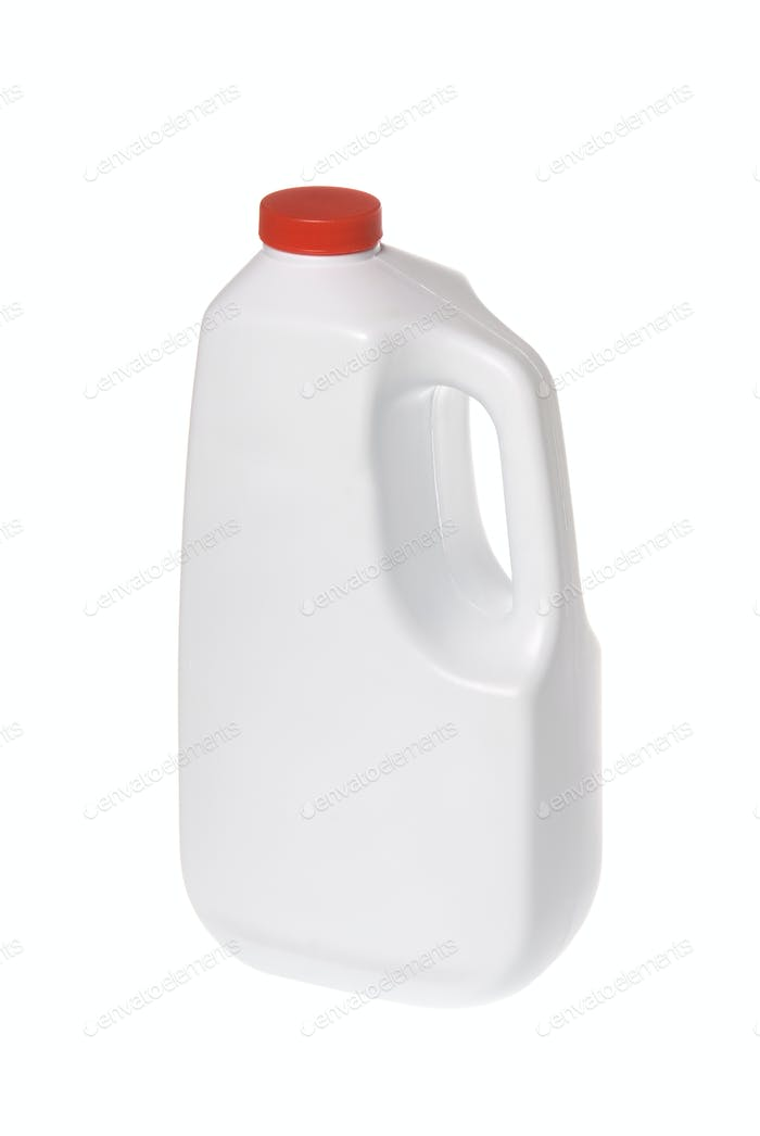 White chemical solution bottle