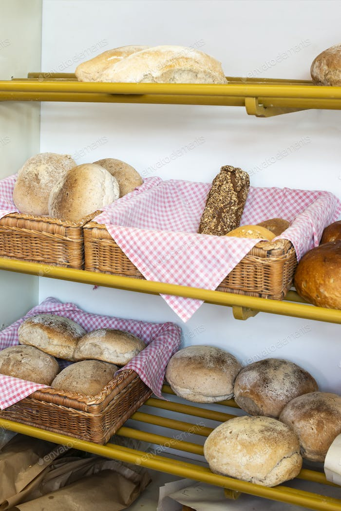 Bread in bakery shelf.