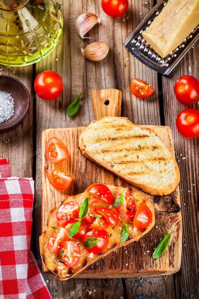homemade bruschetta with cherry tomatoes and basil