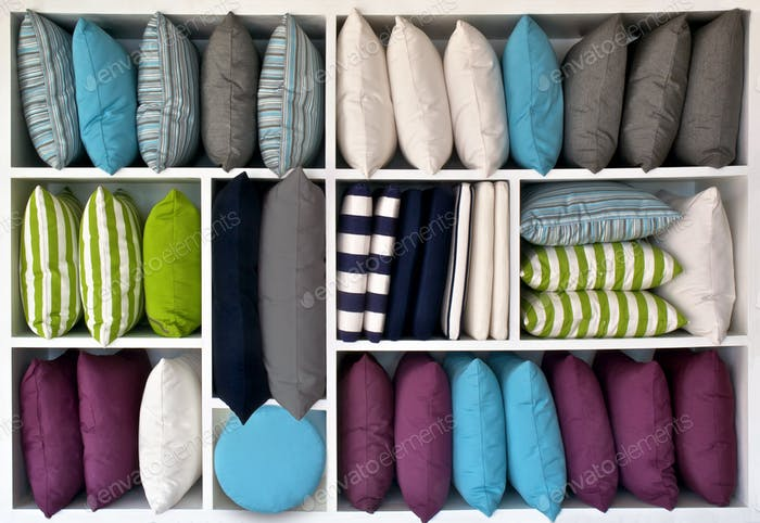 Pillows, Water resistant in different shapes and colors