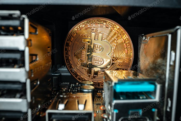 Macro photo of bitcoin cryptocurrency in the dark