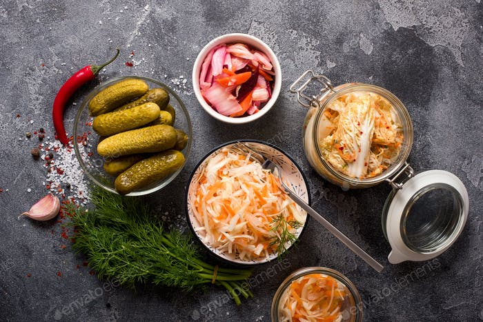 Fermented Cabbage, Fermented Vegetables in Jars, Kimchi, Fermentation Concept