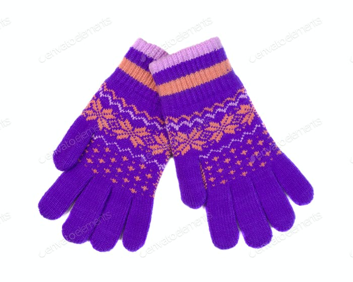 Violet-orange gloves with winter pattern, pair.