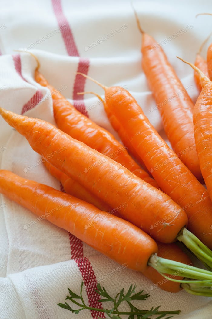 raw carrot vegetable on towel