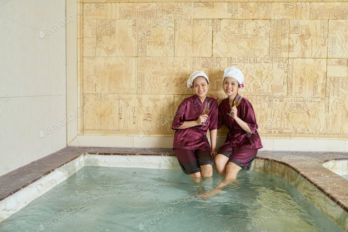 Two Women Enjoying Time In Spa