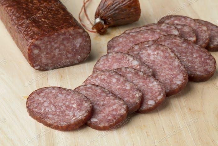 Polish wyborne salami in slices