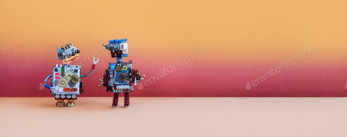 Toy robots are talking. Funny steampunk style robotic characters on a futuristic background.