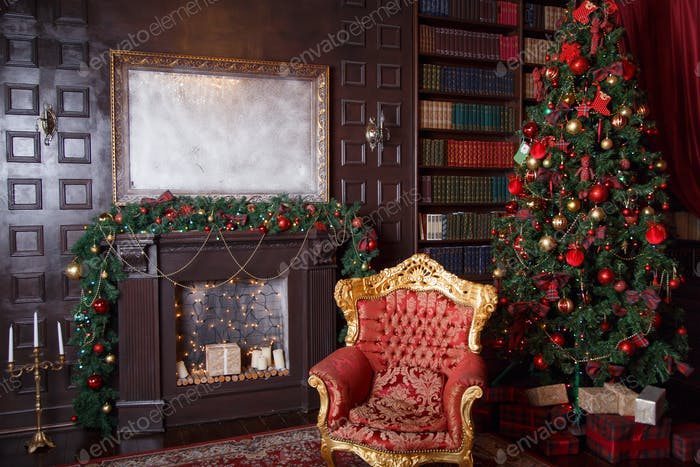 Christmas decor in royal living room with a vintage armchair, fireplace