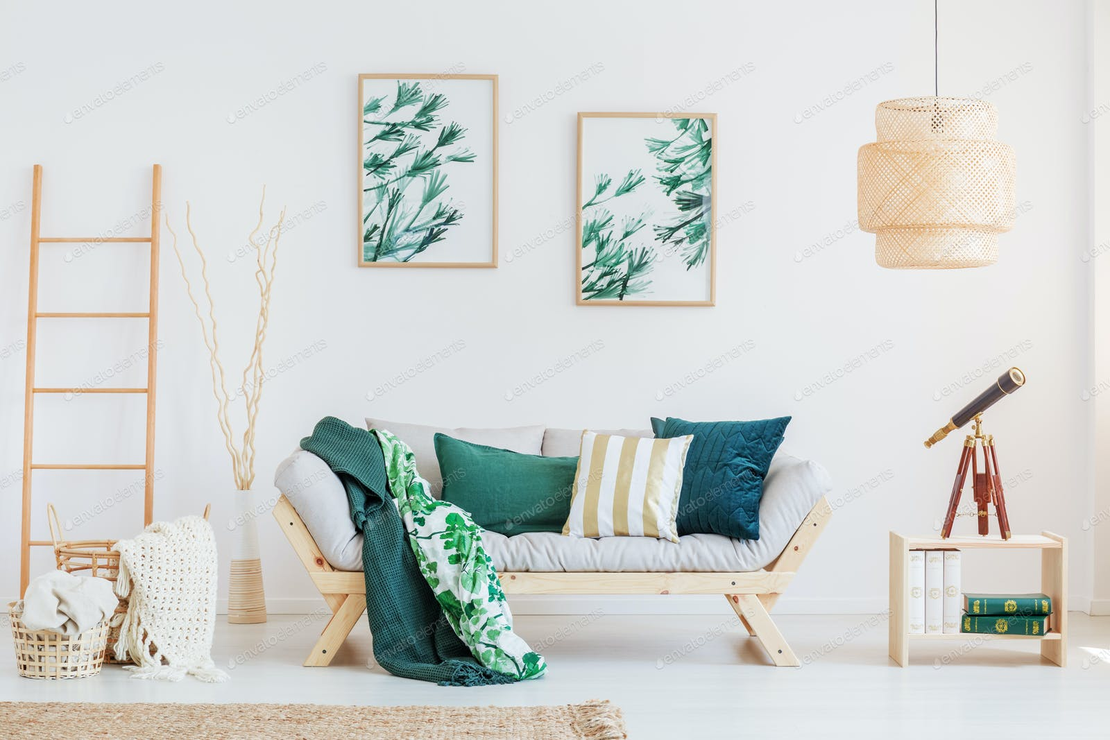 Room with dark green accents photo by bialasiewicz on Envato Elements
