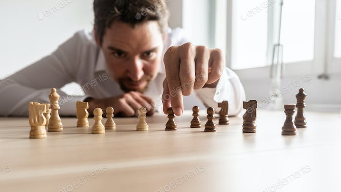 Businessman creating business strategy