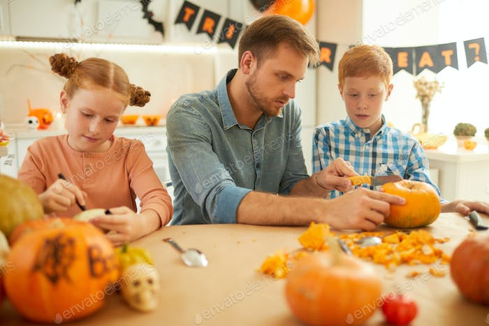 Father with children preparing for holiday