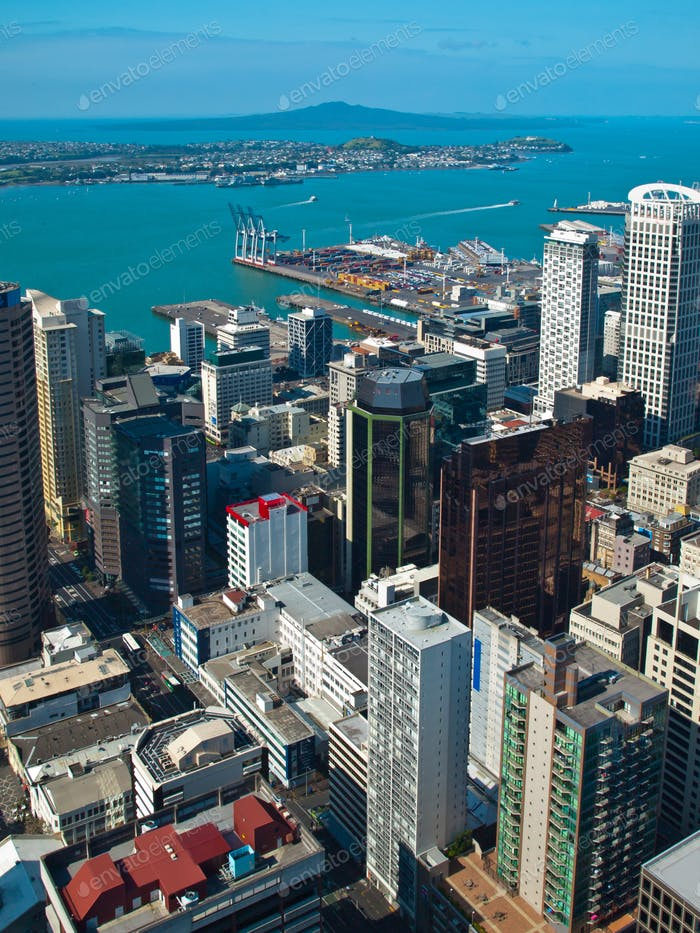 Aerial view over Auckland city