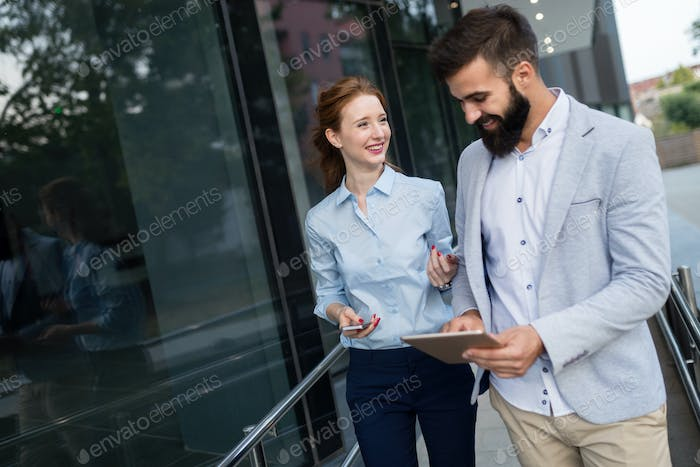 Business colleagues on city streets