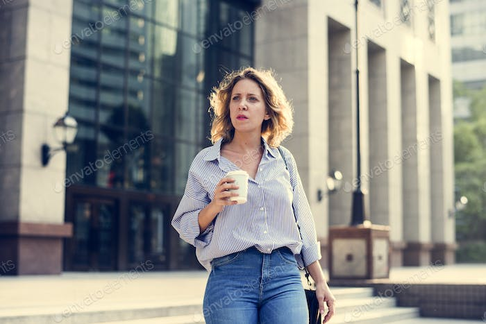 Business woman with a cup of coffee
