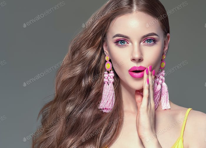 Earrings woman beauty portrait long curly hair\