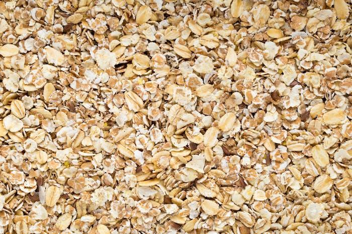 Oatmeal flakes, macro studio shoot. Healthy food.
