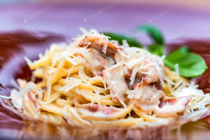 Italian pasta with meat and cheese