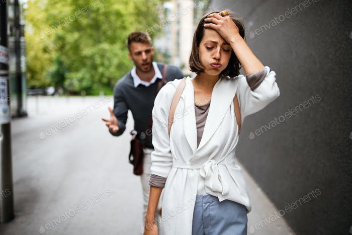 Frustrated couple arguing and having marriage problems