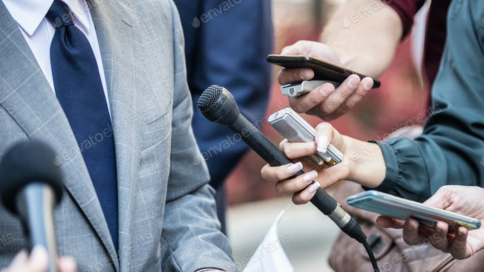 Media Interview. Journalists Interviewing Politician or Business