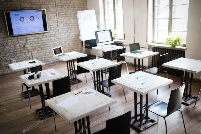 Interior of a modern bright office, classroom