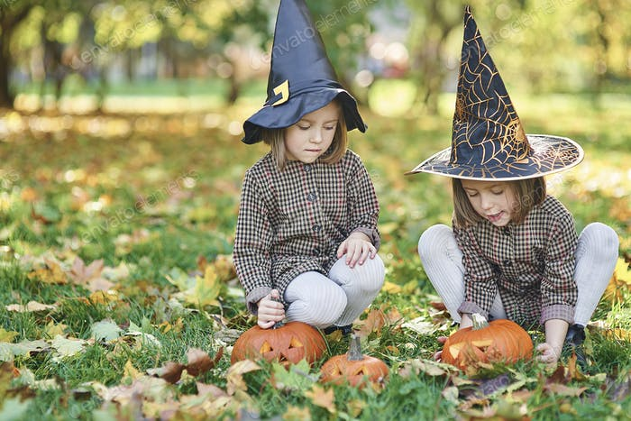 Twins in witch costume during Halloween time