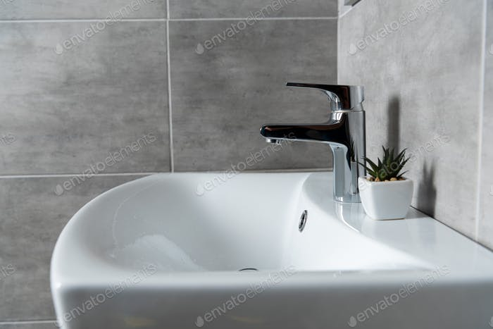 Ceramic washbasin with plant in restroom with grey tile