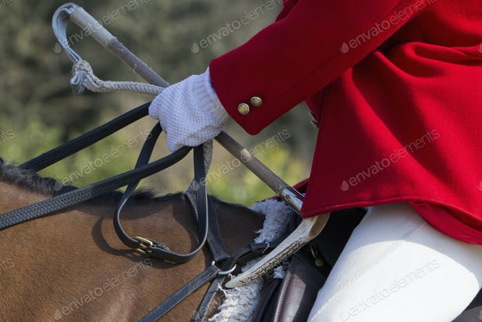 A Master of Foxhounds in a traditional hunting coat, on horseback.