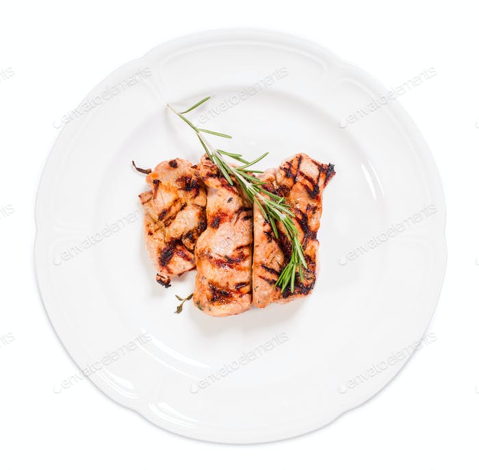Grilled pork shish kebab with rosemary.