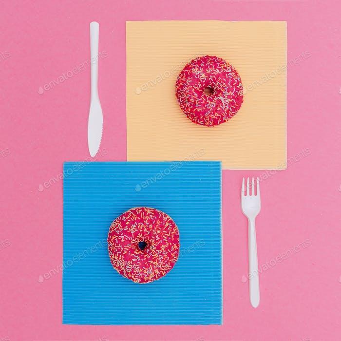 Set Donut Fast food fashion art Creative design