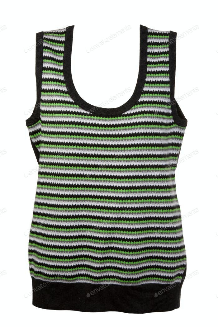 warm waistcoat with green stripes