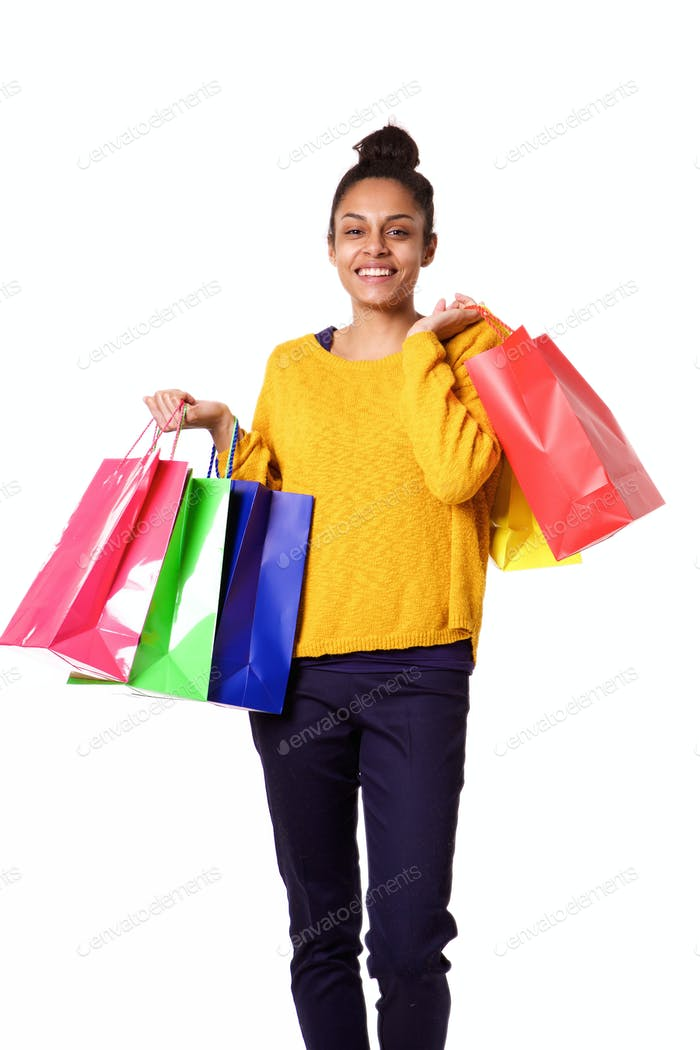 Beautiful african girl with shopping bags