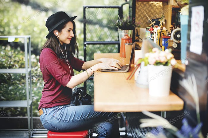 Woman Laptop Global Communications Social Networking Technology