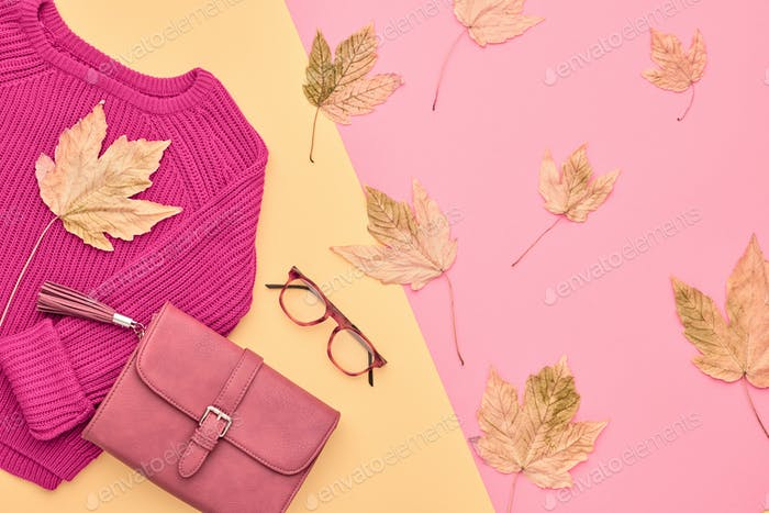 Autumn Fashion Lady Clothes Set. Minimal. Vintage