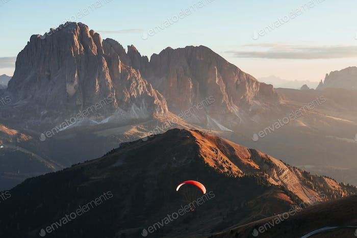 Extremal paragliding over the Seceda mountains in the Italy