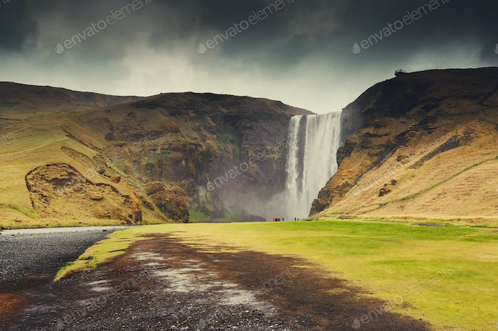 Iceland nature landscape waterfall.