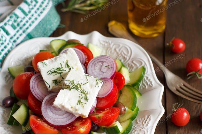 Greek salad close up