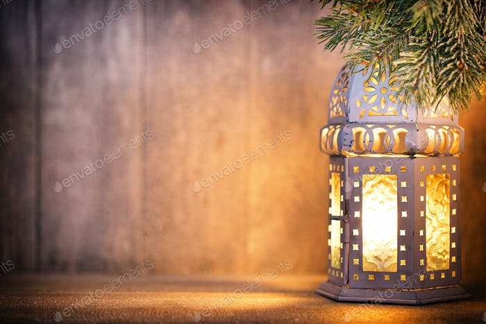 Lantern. Christmas light, christmas decor and scene.